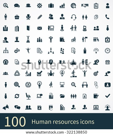 human resources 100 icons universal set for web and mobile - stock vector