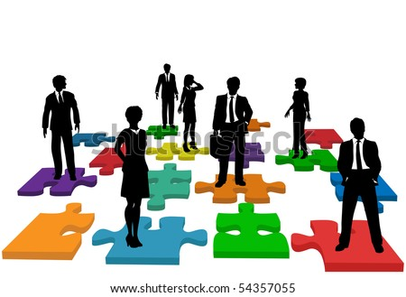 Human resources issues and other people issues and solutions with people on jigsaw pieces, which actually form a puzzle. - stock vector