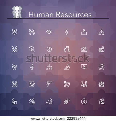 Human resources line Icons set. Vector illustration. - stock vector