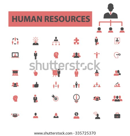 human resources, management icons, signs vector concept set for infographics, mobile, website, application  - stock vector