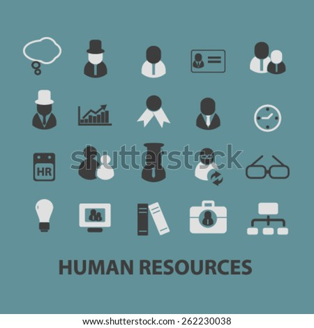 human resources, management, organization icons, signs, illustrations concept design set on background, vector - stock vector