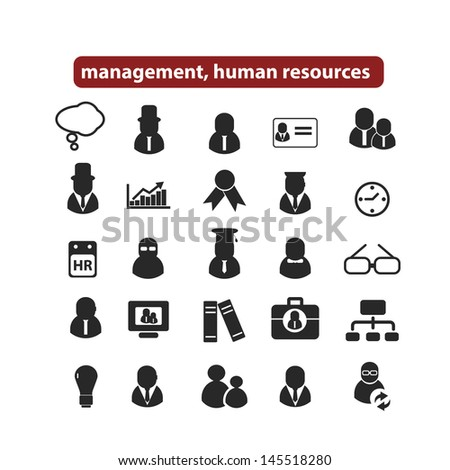 human resources, management organization icons, signs set, vector - stock vector