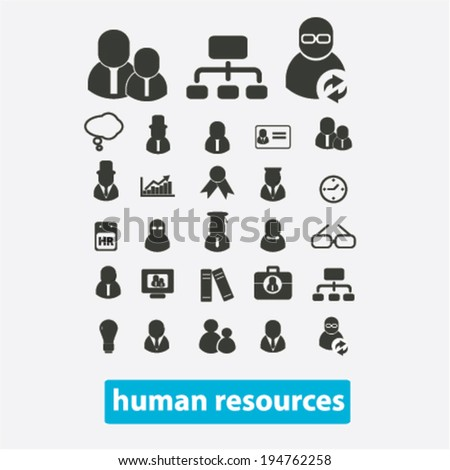 human resources, management, organization, users icons, signs set, vector - stock vector