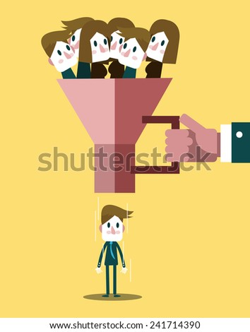 Human resources officer choose worker from the crowd. flat design. vector illustration - stock vector
