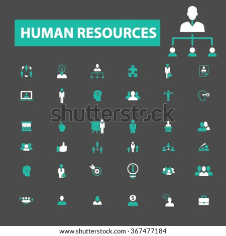 human resources, organization, management, system, ceo, business, hr, meeting, parnership, leader, team, society, manager, director, resume, structure, people, group, community icons, signs vector - stock vector