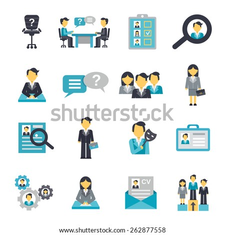 Human resources organization strategy management icons flat set isolated vector illustration - stock vector