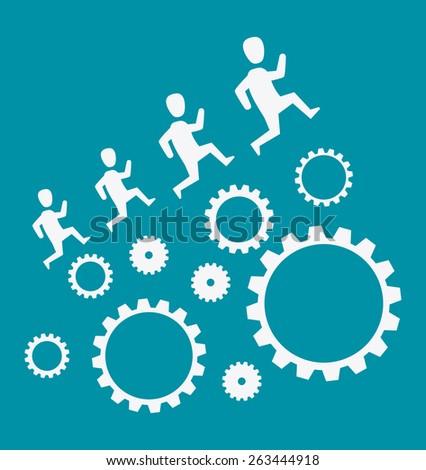 Human resources over blue background design, vector illustration. - stock vector