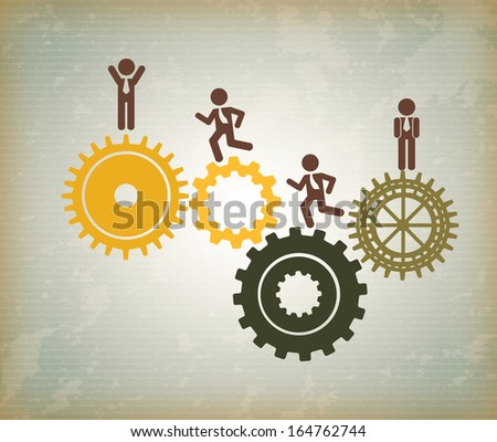human resources over vintage background vector illustration - stock vector