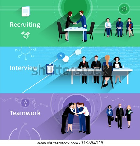 Human resources personnel recruiting interview and teamwork 3 flat horizontal banners abstract slant shadow isolated vector illustration - stock vector