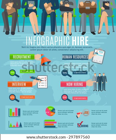 Human resources personnel recruitment and hiring strategy infographics report with  statistic charts and diagrams abstract vector illustration - stock vector