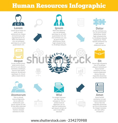Human resources personnel recruitment target selection and management process infographics statistic charts poster print flat vector illustration - stock vector