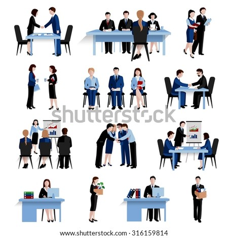 Human resources personnel selection interviewing recruitment and training strategy flat icons  composition set abstract isolated vector illustration - stock vector