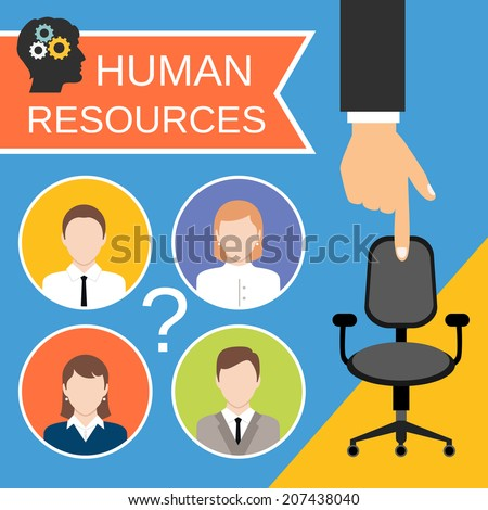 Human resources recruiting planning job business concept with office chair abstract vector illustration - stock vector