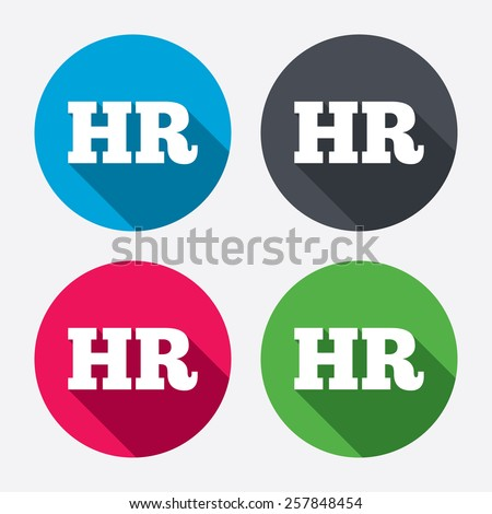 Human resources sign icon. HR symbol. Workforce of business organization. Circle buttons with long shadow. 4 icons set. Vector - stock vector