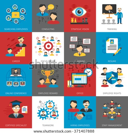 Human resources staff management focus group and consulting concept flat pictograms collection abstract isolated vector illustration  - stock vector