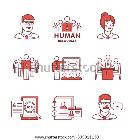 Human resources, team work and building signs set. Thin line art icons. Flat style illustrations isolated on white. - stock vector