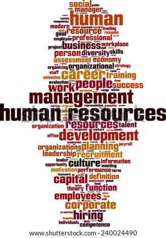 Human Resources word cloud concept. Vector illustration - stock vector