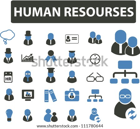 human resourses management & organization icons set, vector - stock vector