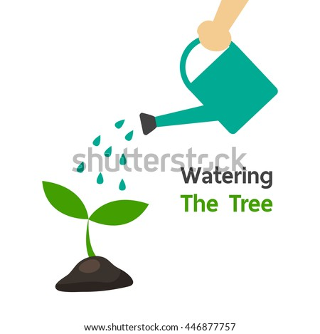 Human's hand holding shower to watering the little plant for growth of big tree in the future. Nature green concept. Flat design vector illustration.