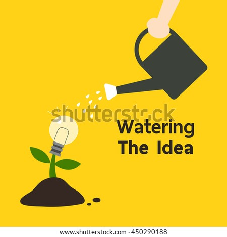 Human's hand watering the tree of creativity idea growth, Intelligent concept illustration. Flat design. - stock vector