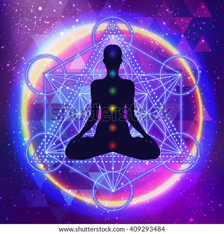 Human silhouette meditating or doing yoga. Metatrons Cube, Flower of life. Sacred geometry abstract background. Good design for textile t-shirt print, colorful poster background. Inner light.