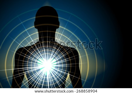 Human Silhouette With Energy Radiating From Heart Chakra, Eps 10 Vector, Transparency and Gradient mesh Used - stock vector