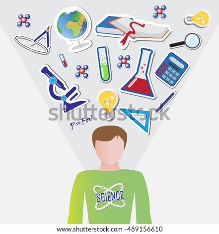Human silhouette with science icons above head, vector illustration