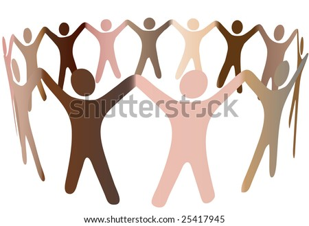 Human skin tones join hands and blend together in a ring of diverse multicultural people. - stock vector