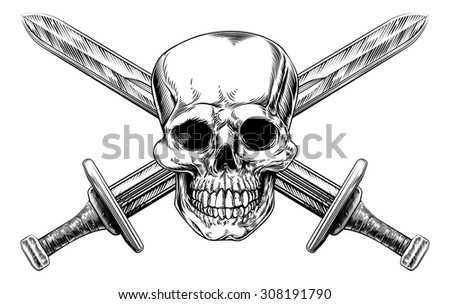 Human skull and two crossed swords pirate style sign in a vintage woodblock style - stock vector