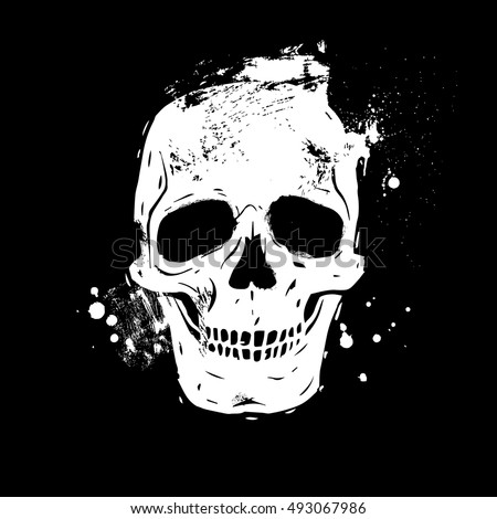 Human skull black and white isolated on white background day of the dead hand