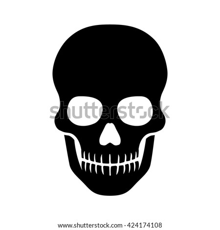 Human skull / death or dead flat icon for games and websites - stock vector