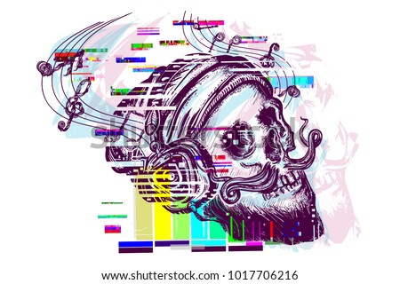 Human skull glitch tattoo and t-shirt design. Skull with beard, mustache, hipster hat and headphones tattoo