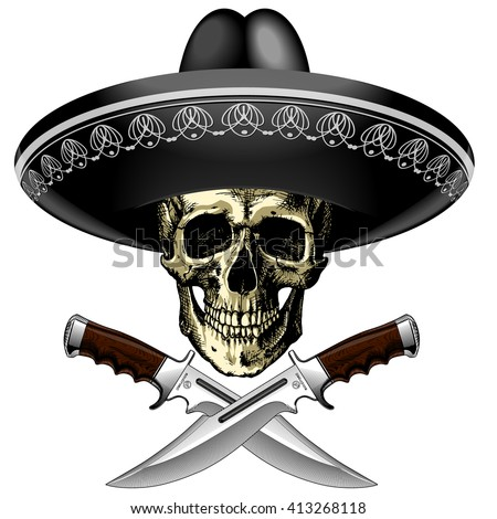 Human skull in a Mexican sombrero with two crossed knives on a blank background - stock vector