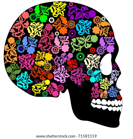 Human skull in flowers - stock vector