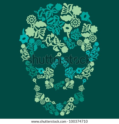 Human skull in flowers, isolated - stock vector