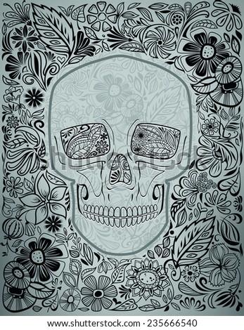 human skull made of flowers, vector illustration - stock vector