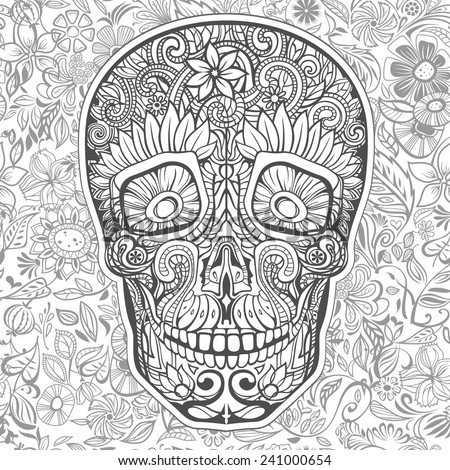 human skull made of flowers, vector illustration - stock vector