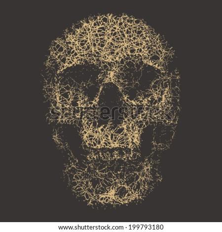 Human skull print template. Vector. - stock vector