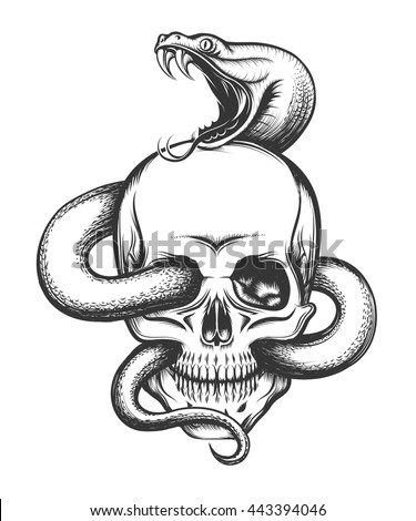 Human skull crawling snake illustration engraving stock vector human skull with crawling snake illustration in engraving style thecheapjerseys Gallery