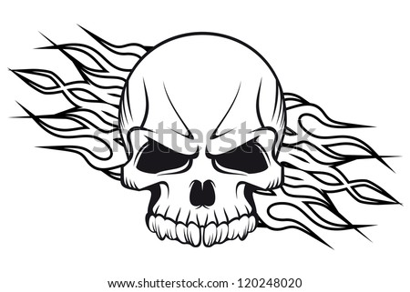 Human skull with flames for tattoo or mascot design, such a logo template. Jpeg version also available in gallery - stock vector