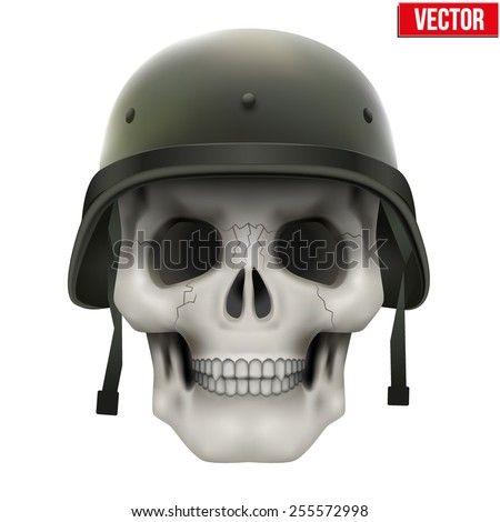 Human skull with Military helmet green color. Vector Illustration on isolated white background - stock vector