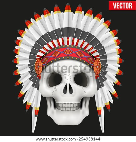 Human skull with Military Native American Indian chief headdress. Vector Illustration on isolated black background - stock vector