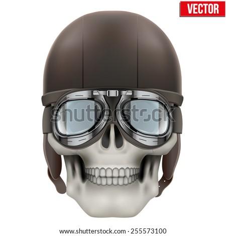 Human skull with retro aviator or biker helmet. Vector Illustration on isolated white background - stock vector