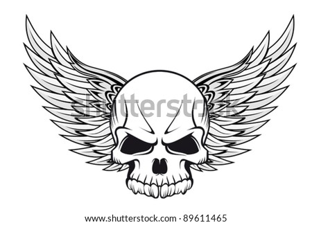 Human skull with wings for tattoo design. Jpeg version also available in gallery - stock vector