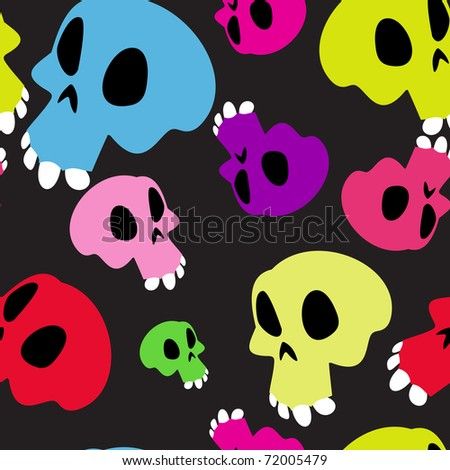 Human skulls on black, seamless - stock vector