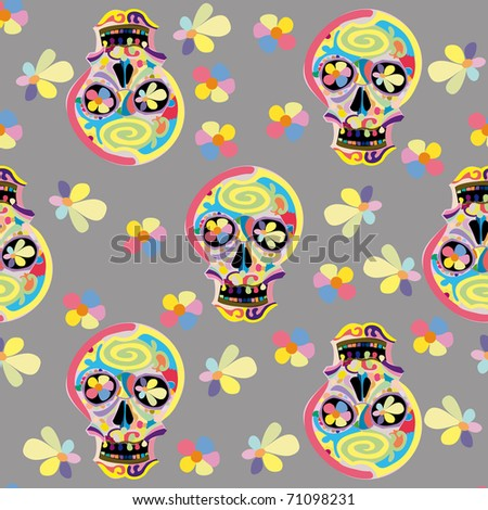 Human skulls on grey, seamless - stock vector