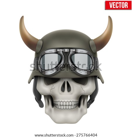 Human skulls with German Army helmet and horns. Vector Illustration isolated on a white background - stock vector