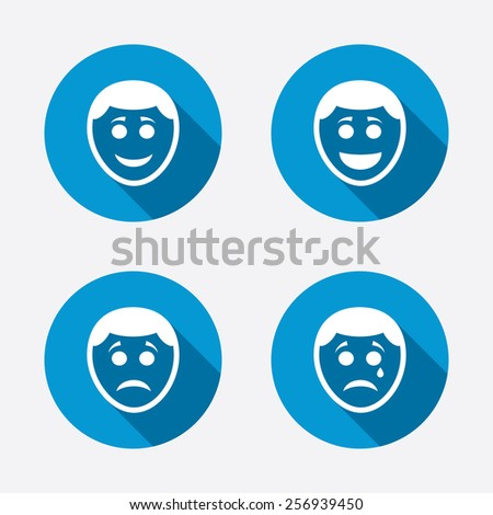 Human smile face icons. Happy, sad, cry signs. Happy smiley chat symbol. Sadness depression and crying signs. Circle concept web buttons. Vector - stock vector