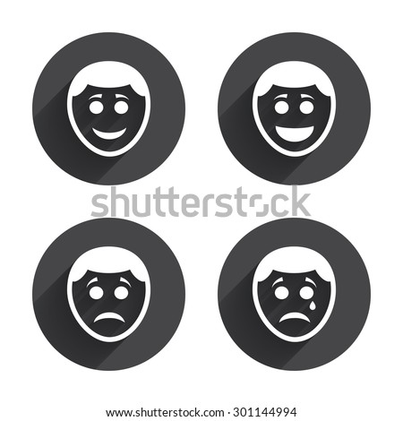 Human smile face icons. Happy, sad, cry signs. Happy smiley chat symbol. Sadness depression and crying signs. Circles buttons with long flat shadow. Vector - stock vector
