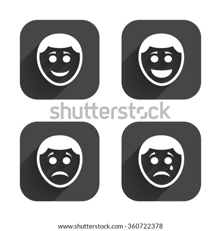 Human smile face icons. Happy, sad, cry signs. Happy smiley chat symbol. Sadness depression and crying signs. Square flat buttons with long shadow. - stock vector